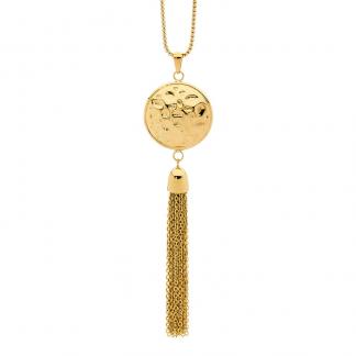 S/Steel Gold Tassle Pendant_0