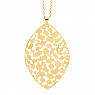 S/Steel Gold Plated Leaf Pendant_0
