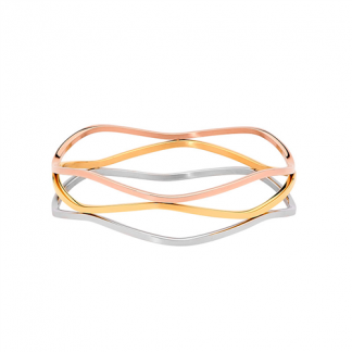 S/Steel Triple Wave Bangle with Rose & Gold Plating_0