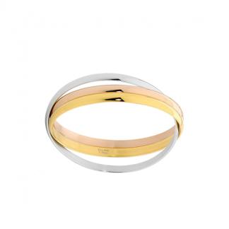 S/Steel Triple Linked Bangle w/ Rose & Gold IP_0