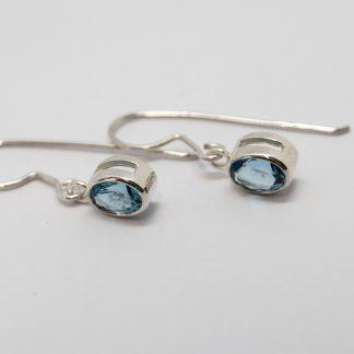 Stg Blue Topaz Rub Set Hook Earrings_0