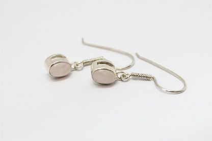 Stg Rose Quartz Rub Set Hook Earrings_0