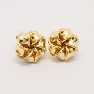 9ct Yellow Gold Six Fold Twisted Knot Studs_0