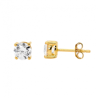 S/Steel CZ Gold Plated Studs_0