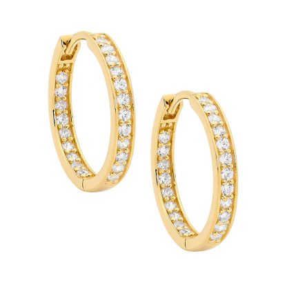 Stg CZ Inside Out Gold Plated Hoop Earrings_0