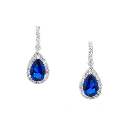 Stg Dark Blue Pear Drop Earrings_0