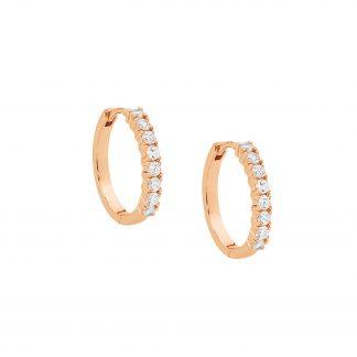 Stg Hoop Earrings w/ Rose Gold Plating_0