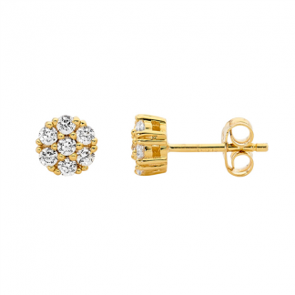 Stg Cluster Earrings with Gold IP Plating_0