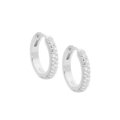Stg CZ Hoop Earrings_0