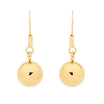 S/Steel Gold Plated Ball Drop Earrings_0