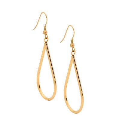 S/Steel Open Tear Drop Earrings with Gold IP Plating_0