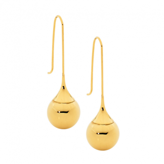 S/Steel Long Drop Earrings with Gold Plating_0