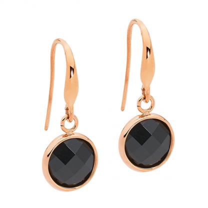 S/Steel Round Black Glass Drop w/ Rose Gold IP Earrings_0