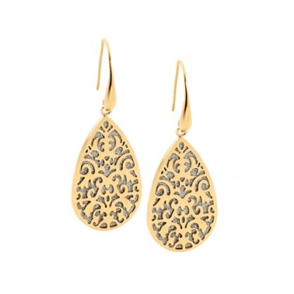 S/Steel Filigree Tear Earrings w/ Shimmer Black/ Gold IP_0