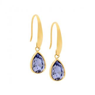 S/Steel Tear Drop Earrings with Amethyst Glass_0