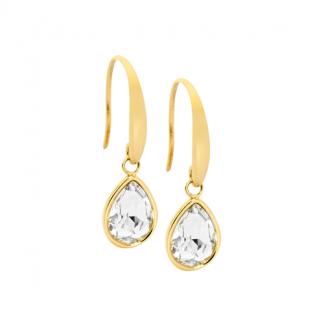 S/Steel Tear Drop Earrings w/ White Glass & Gold IP_0