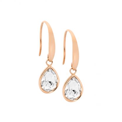 S/Steel Rose Gold Plate Tear Drop Earrings_0