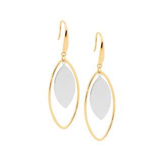 S/Steel Gold Plated Drop Earrings_0