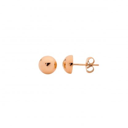 S/Steel Domed Rose Gold Plated Studs_0