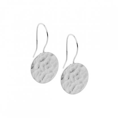 S/Steel Hammered Effect Drop Earrings_0