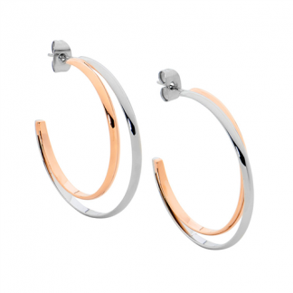S/Steel Hoop Earrings Double Row_0