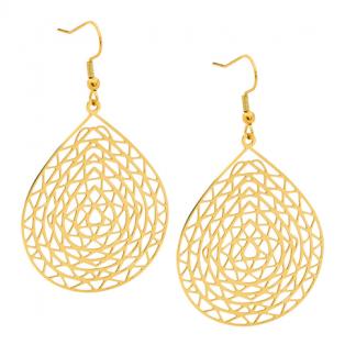 S/ Steel Gold Plated Tear Drop Earrings_0
