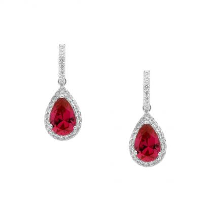 STG Red CZ Pear Drop Earrings_0