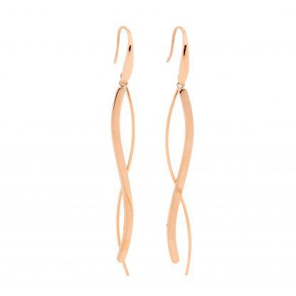 S/Steel Rose Gold Plate Long Wave Drop Earrings_0