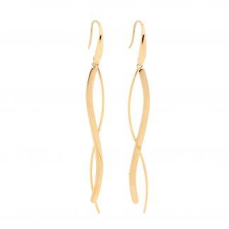 S/ Steel w/ Gold Plating Drop Earrings_0