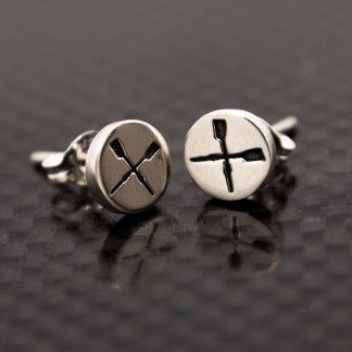 STG Rowing Crossed Oar Disc Earrings_0