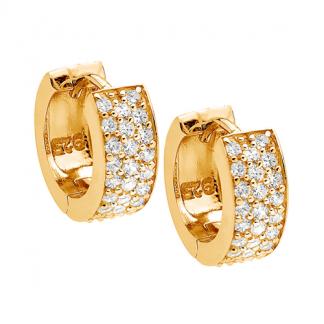 Stg Three Row CZ Earrings w/ Gold IP_0