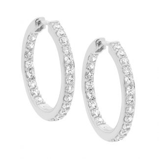 Stg/silver White CZ Hoops_0