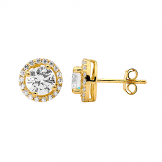 STG CZ Solitaire CZ Surround Gold Plate Earrings_0