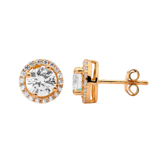 STG CZ Solitaire & CZ Surround with Rose Gold Plating_0