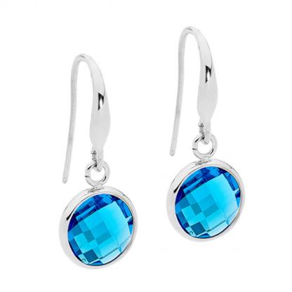 S/Steel Round Blue Glass Drop Earrings_0