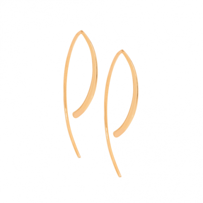 S/Steel Rose Gold Long Curved Drop Earrings_0