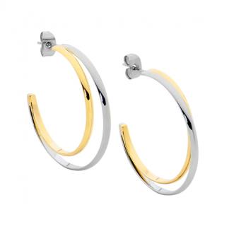 S/Steel Double Row Two Tone Hoop Earrings_0
