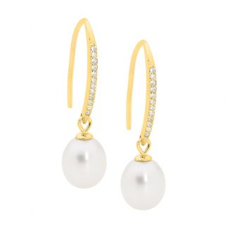 STG Hook Pearl Earrings w/ Gold IP_0