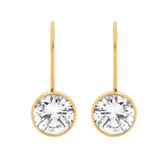 S/Steel Bezel Set Gold Plated Drop Earrings_0