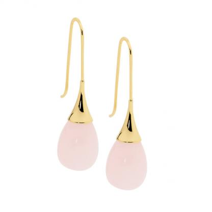 S/Steel Rose Quartz Tear Earrings w/ Gold Plating_0