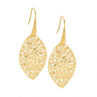 S/Steel Gold Plate Leaf Earrings_0