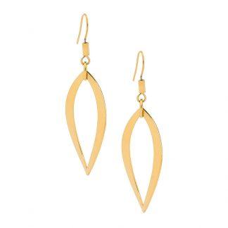 S/Steel Gold Plated Leaf Earrings_0