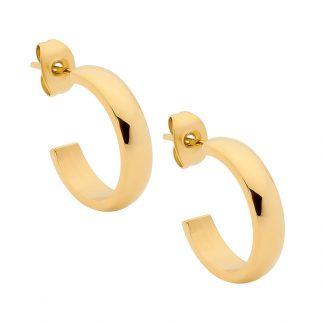 S/Steel Gold Plate Hoop Earrings_0
