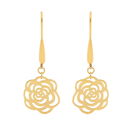 S/Steel Gold Plated Rose Drop Earrings_0