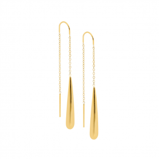 S/Steel Thread Earrings Gold Plate_0