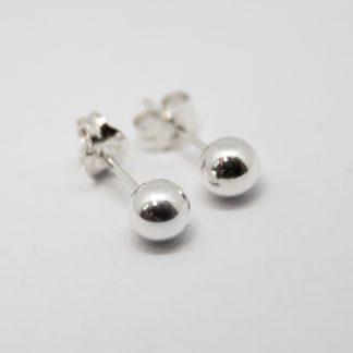 Stg/silver Ball Stud Earring_0