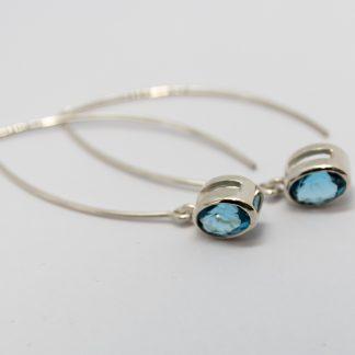 Stg Blue Topaz Long hook Earrings_0