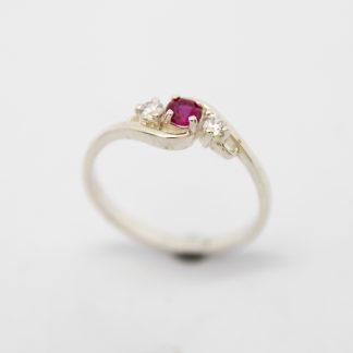 Stg/silver CZ Birthstone Ring (July)_0