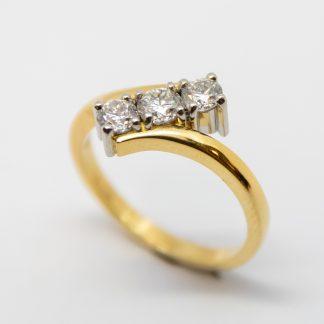 18ct Gold & Platinum 3 Stone Crossover Ring_0