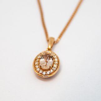 Rose Gold Diamond Morganite Pendant_0